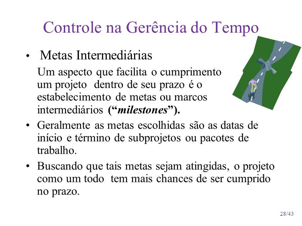 28/43 Controle na Gerência do Tempo Metas Intermediárias Um aspecto que facilita o cumprimento de um projeto dentro de seu prazo é o estabelecimento de metas ou marcos intermediários (milestones).