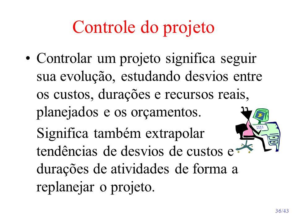 36/43 Controle do projeto Controlar um projeto significa seguir sua evolução, estudando desvios entre os custos, durações e recursos reais, planejados e os orçamentos.