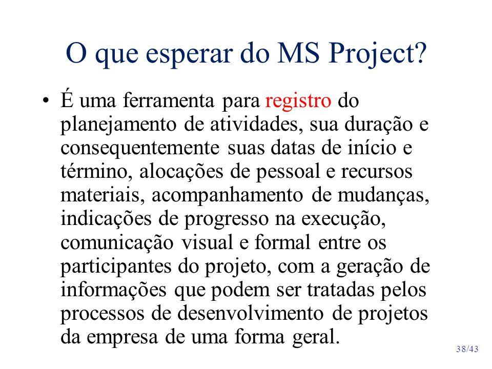 38/43 O que esperar do MS Project.
