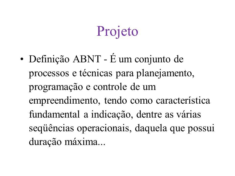 Projeto Definição ABNT - É um conjunto de processos e técnicas para planejamento, programação e controle de um empreendimento, tendo como característica fundamental a indicação, dentre as várias seqüências operacionais, daquela que possui duração máxima...