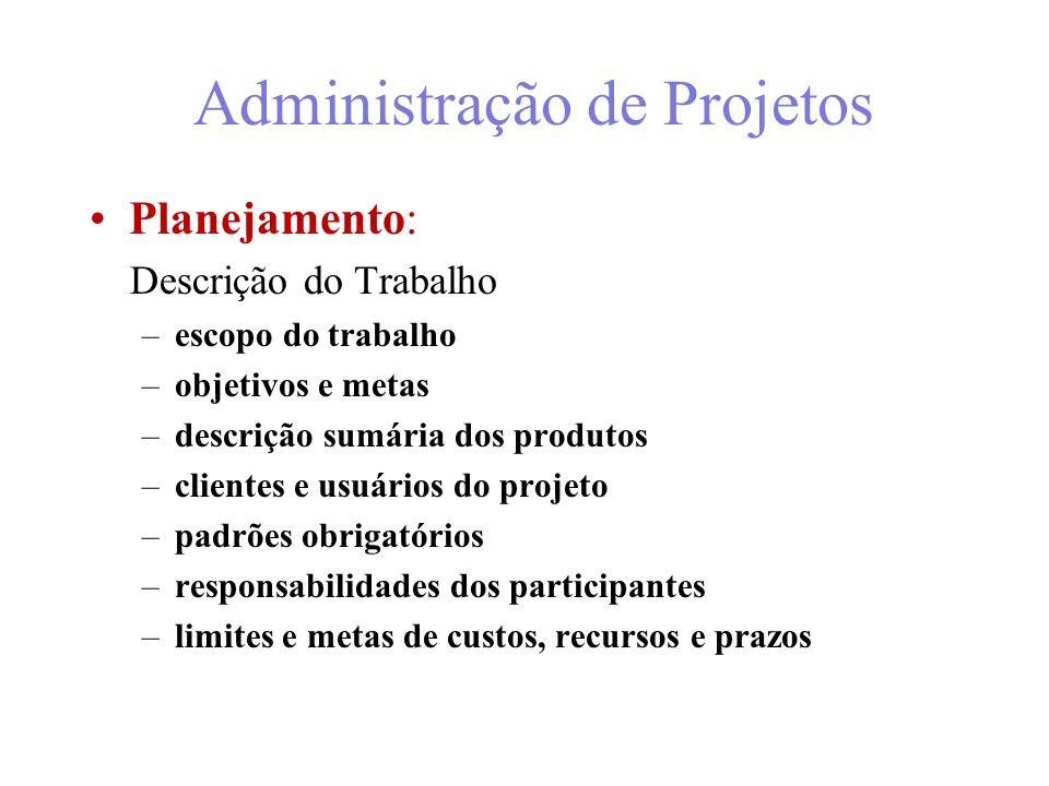9/43 Administração de Projetos Plano de desenvolvimento do projeto escopo, objetivos e metas do projeto definição dos produtos do projeto planejamento do projeto, a partir do detalhamento das tarefas necessárias para a obtenção dos produtos – –WBS (Work Breakdown Structure) ou –EDT (Estrutura de Desmembramento de Trabalho) estimativa do esforço e dos recursos para desenvolver o projeto