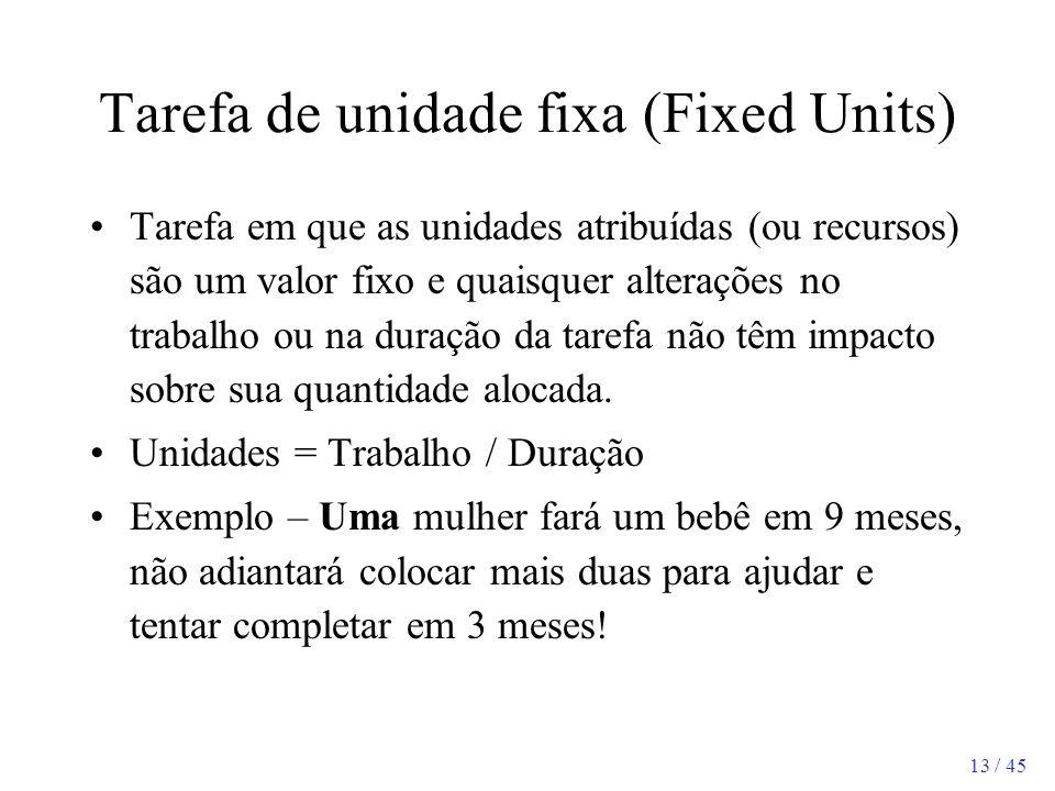 13 / 45 Tarefa de unidade fixa (Fixed Units) Tarefa em que as unidades atribuídas (ou recursos) são um valor fixo e quaisquer alterações no trabalho o