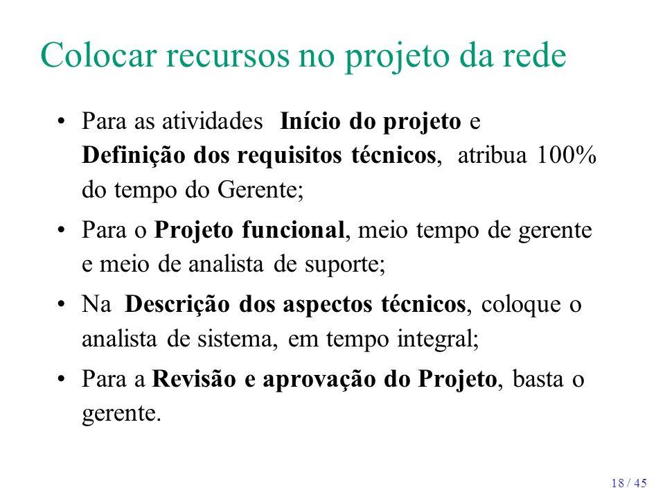 18 / 45 Colocar recursos no projeto da rede Para as atividades Início do projeto e Definição dos requisitos técnicos, atribua 100% do tempo do Gerente