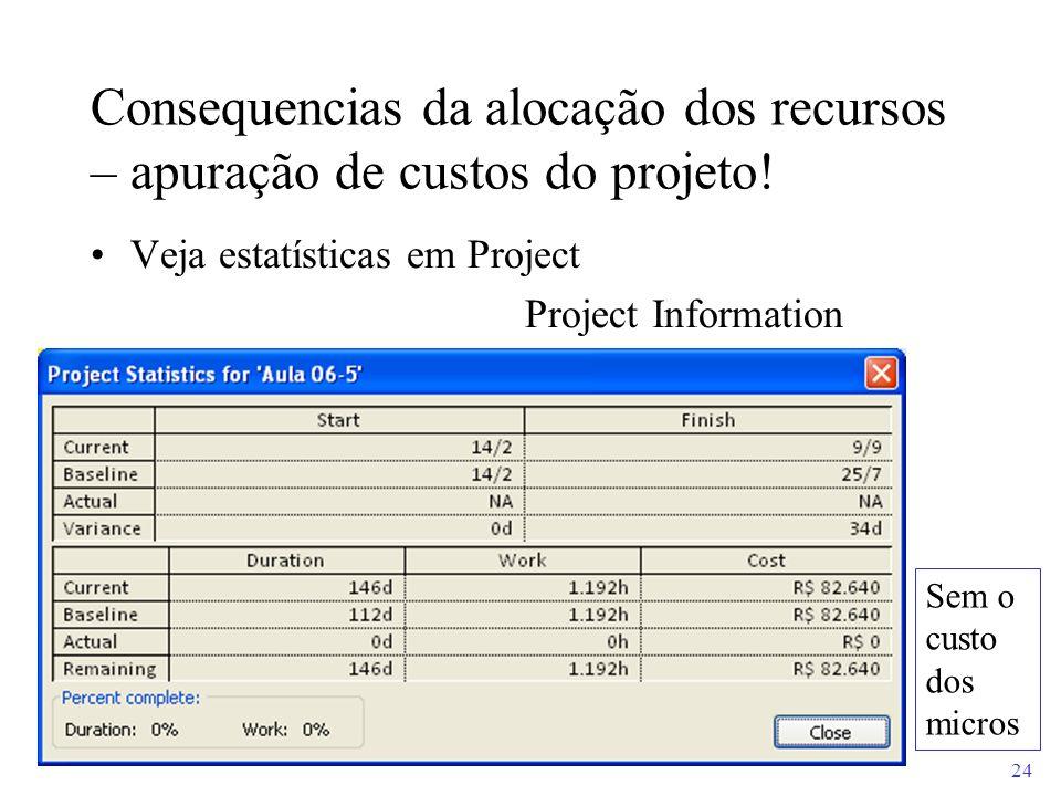 24 Consequencias da alocação dos recursos – apuração de custos do projeto! Veja estatísticas em Project Project Information Sem o custo dos micros