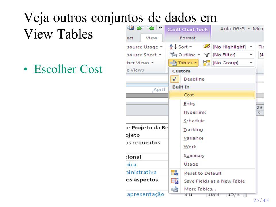 25 / 45 Veja outros conjuntos de dados em View Tables Escolher Cost