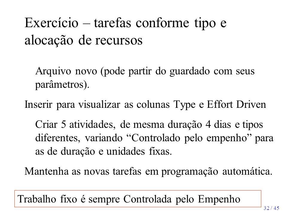 32 / 45 Exercício – tarefas conforme tipo e alocação de recursos Arquivo novo (pode partir do guardado com seus parâmetros). Inserir para visualizar a