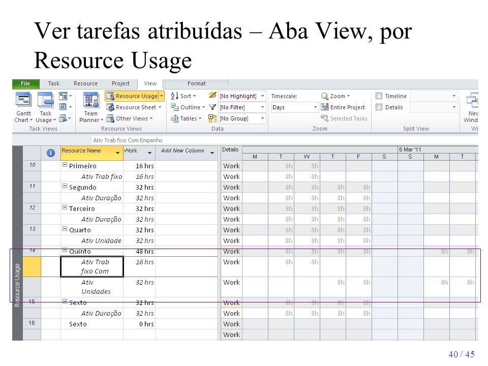 40 / 45 Ver tarefas atribuídas – Aba View, por Resource Usage