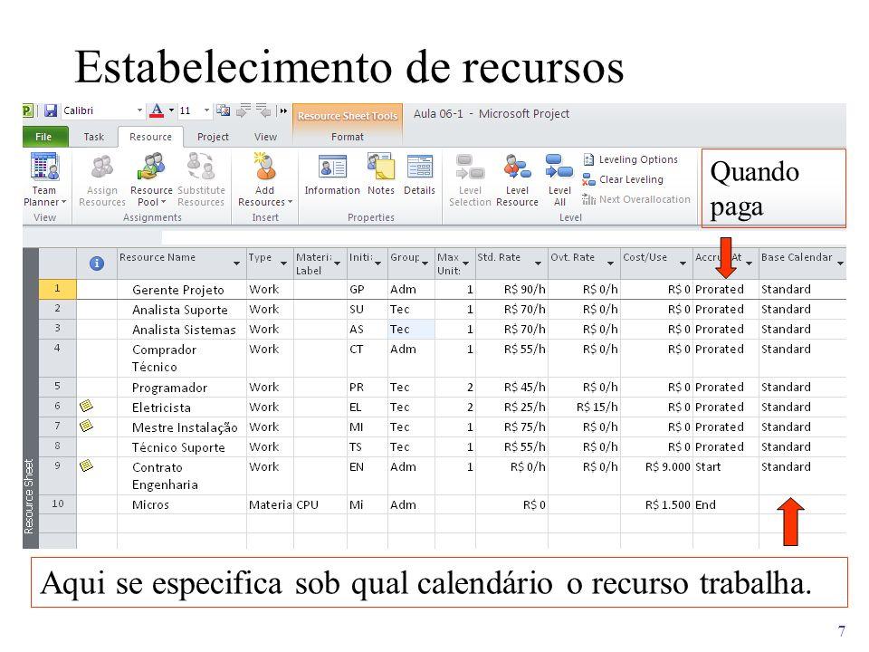 7 Estabelecimento de recursos Aqui se especifica sob qual calendário o recurso trabalha. Quando paga