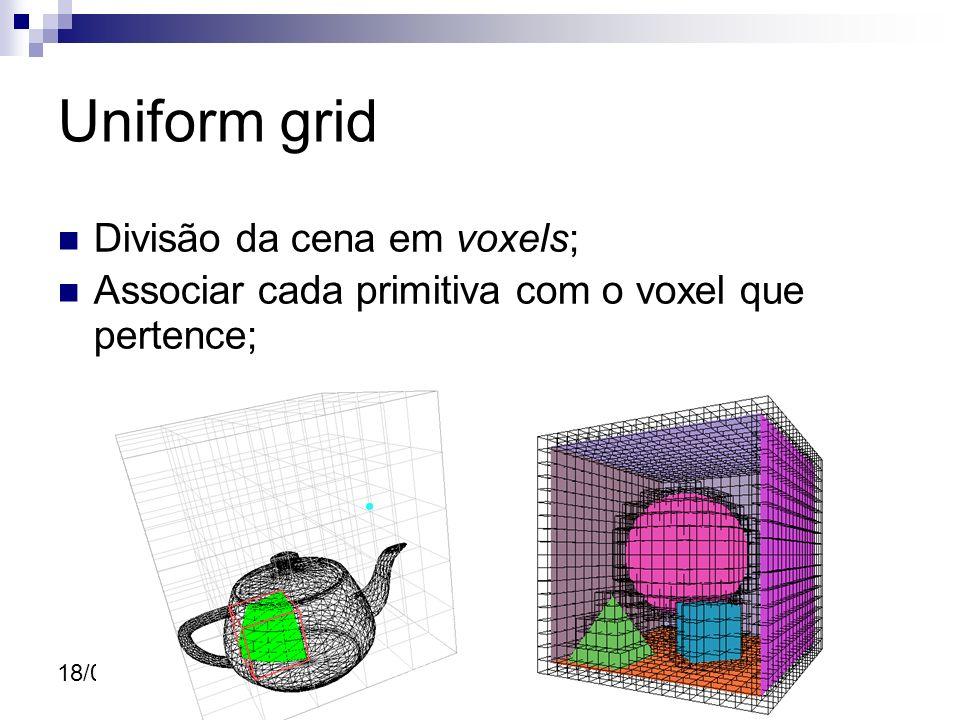 18/07/10 Uniform grid Divisão da cena em voxels; Associar cada primitiva com o voxel que pertence;