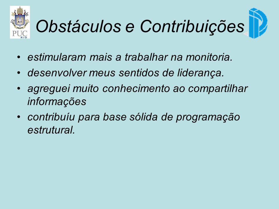 Obstáculos e Contribuições estimularam mais a trabalhar na monitoria.