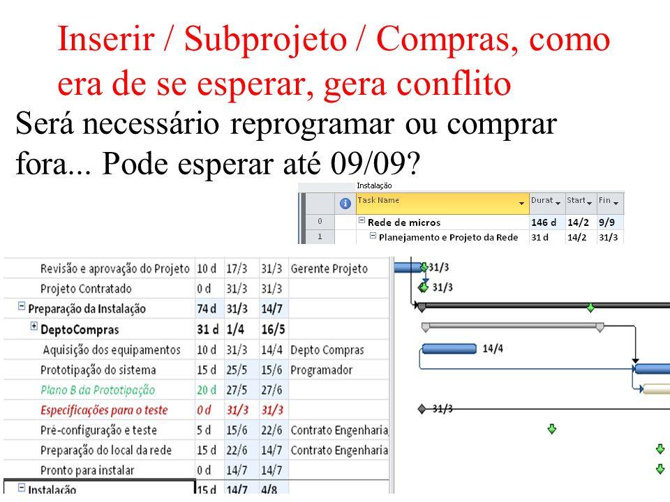 9/20 Inserir / Subprojeto / Compras, como era de se esperar, gera conflito Será necessário reprogramar ou comprar fora... Pode esperar até 09/09?