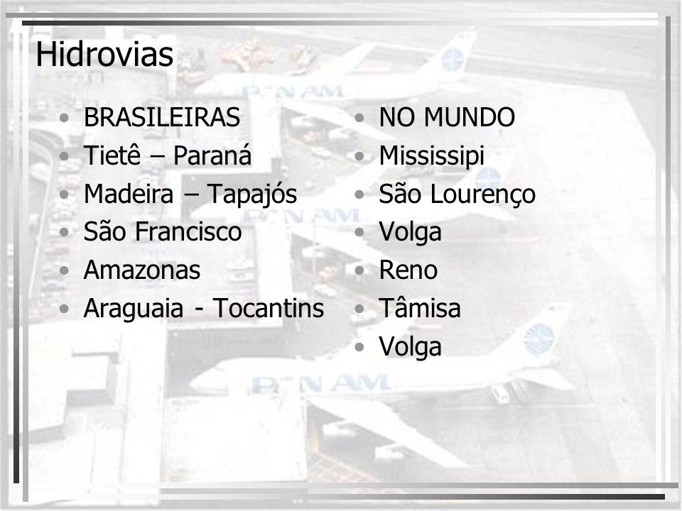 Hidrovias BRASILEIRAS Tietê – Paraná Madeira – Tapajós São Francisco Amazonas Araguaia - Tocantins NO MUNDO Mississipi São Lourenço Volga Reno Tâmisa