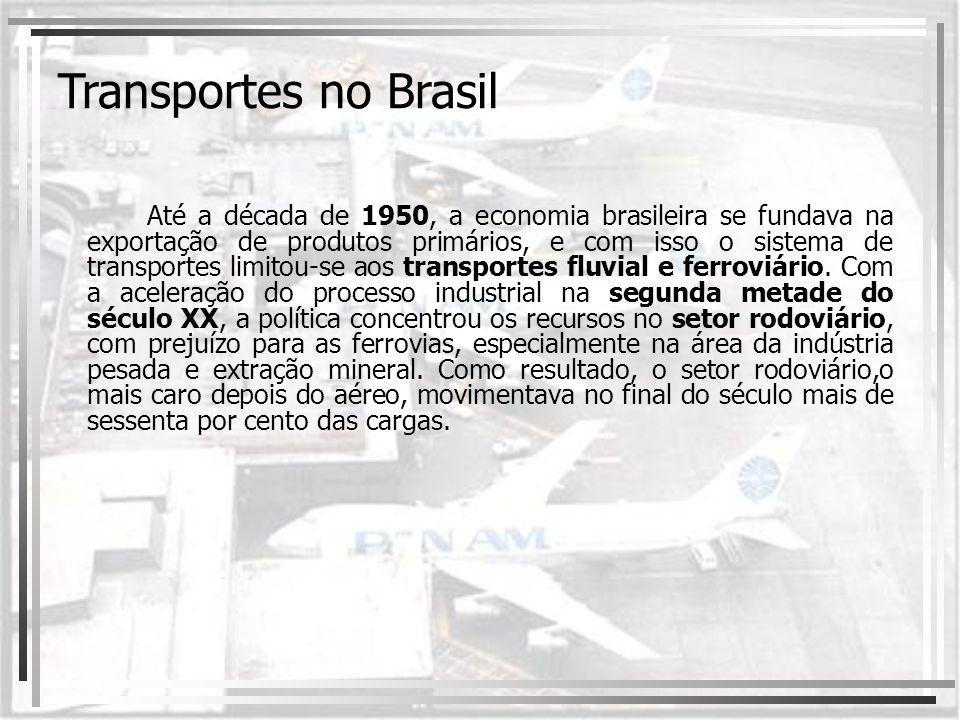 Até a década de 1950, a economia brasileira se fundava na exportação de produtos primários, e com isso o sistema de transportes limitou-se aos transpo