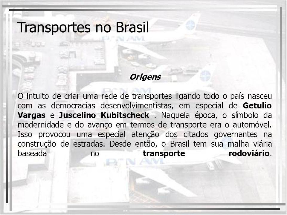 Transporte rodoviário As primeiras rodovias brasileiras datam do século XIX, mas a ampliação da malha rodoviária ocorreu no governo Vargas, com a criação do Departamento Nacional de Estradas de Rodagem (DNER) em 1937.