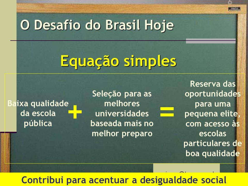 mprimac@terra.com.br O Desafio do Brasil Hoje Equação simples Baixa qualidade da escola pública Seleção para as melhores universidades baseada mais no