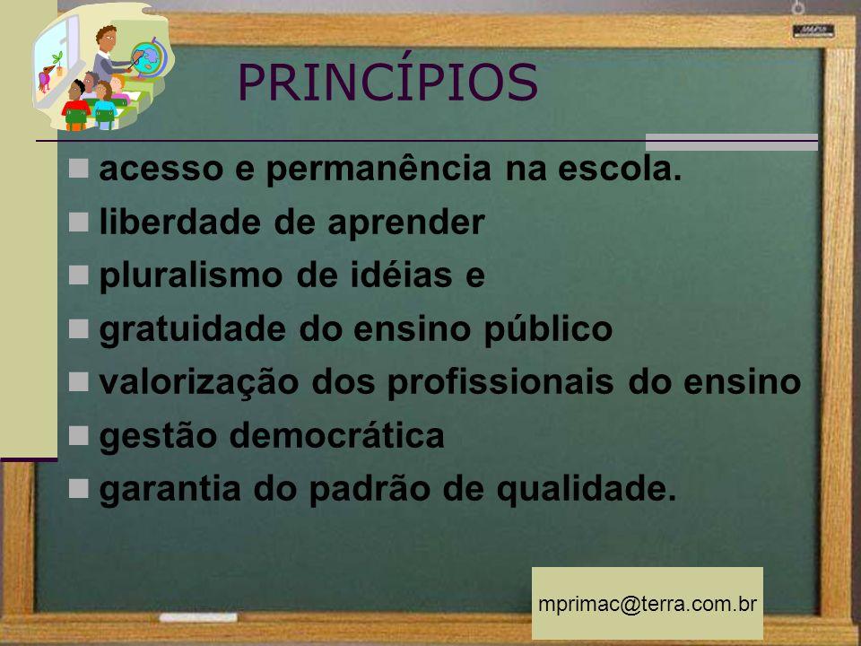 mprimac@terra.com.br PRINCÍPIOS acesso e permanência na escola. liberdade de aprender pluralismo de idéias e gratuidade do ensino público valorização