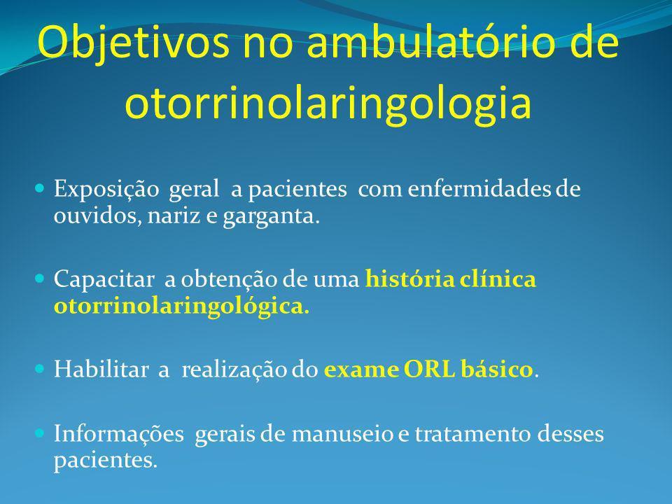 Objetivos no ambulatório de otorrinolaringologia Exposição geral a pacientes com enfermidades de ouvidos, nariz e garganta.