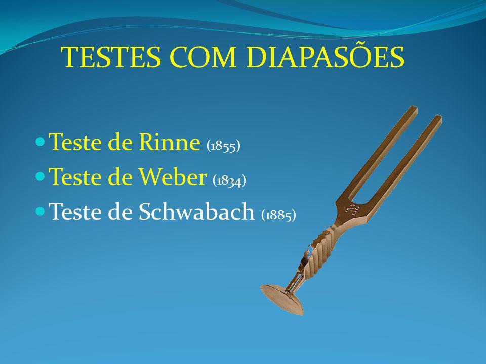 Teste de Rinne (1855) Teste de Weber (1834) Teste de Schwabach (1885) TESTES COM DIAPASÕES