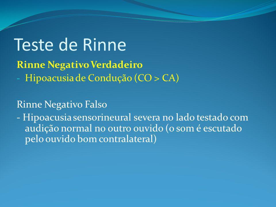 Teste de Rinne Rinne Negativo Verdadeiro - Hipoacusia de Condução (CO > CA) Rinne Negativo Falso - Hipoacusia sensorineural severa no lado testado com audição normal no outro ouvido (o som é escutado pelo ouvido bom contralateral)
