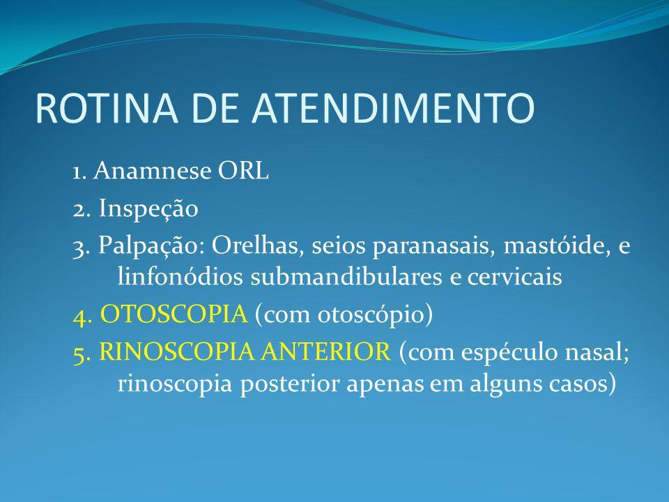 ROTINA DE ATENDIMENTO 1.Anamnese ORL 2. Inspeção 3.