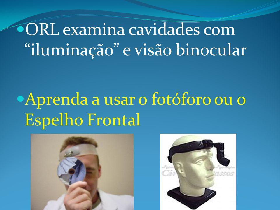 ORL examina cavidades com iluminação e visão binocular Aprenda a usar o fotóforo ou o Espelho Frontal