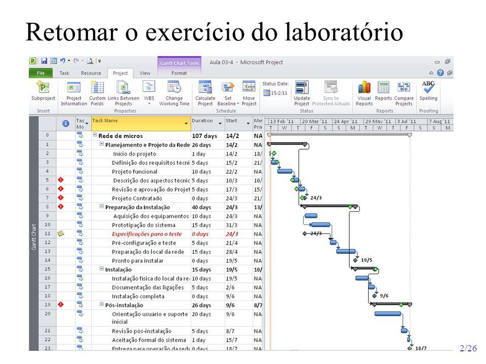 3/26 Retomar o exercício do laboratório Nomear esta visão da tabela com Deadline As demais tabelas mostram dados correlatos, custos, andamento do projeto, resumos, acumulados etc