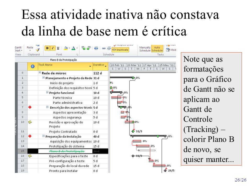 26/26 Essa atividade inativa não constava da linha de base nem é crítica Note que as formatações para o Gráfico de Gantt não se aplicam ao Gantt de Co