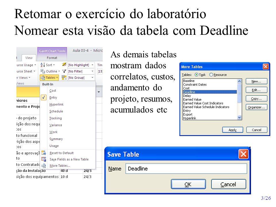 4/26 No modo Page Setup (Configurar Página), coloque no rodapé as datas de início e término previsto File / Print / Page Setup Escolha e Add