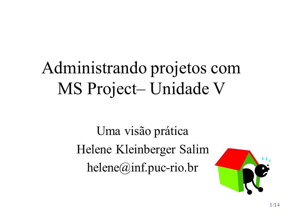 1/14 Administrando projetos com MS Project– Unidade V Uma visão prática Helene Kleinberger Salim helene@inf.puc-rio.br