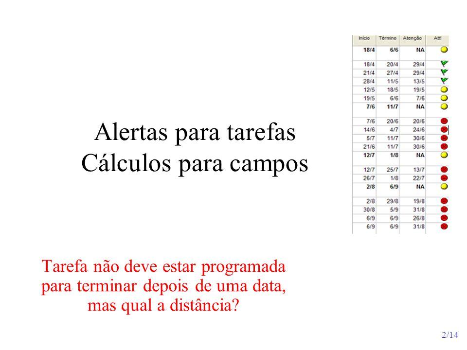 2/14 Alertas para tarefas Cálculos para campos Tarefa não deve estar programada para terminar depois de uma data, mas qual a distância