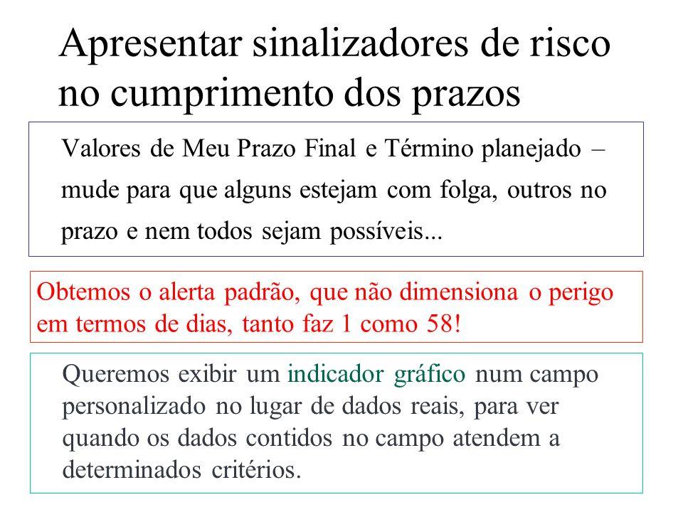 4/14 Preparação Inserir duas colunas, uma para estabelecer a diferença entre as datas de Término e Meu Prazo e outra para o ícone de risco (tipo Número), usando campos Número10 e 11.