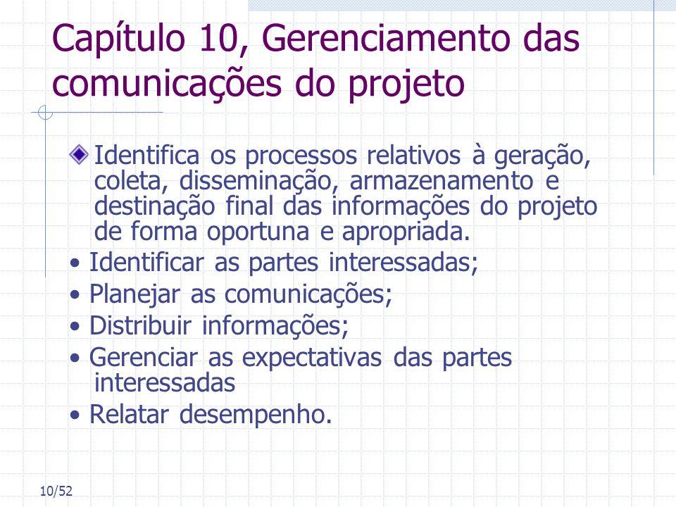 10/52 Capítulo 10, Gerenciamento das comunicações do projeto Identifica os processos relativos à geração, coleta, disseminação, armazenamento e destin