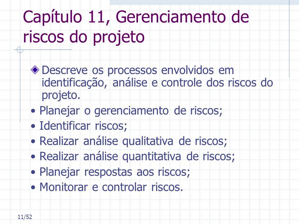 11/52 Capítulo 11, Gerenciamento de riscos do projeto Descreve os processos envolvidos em identificação, análise e controle dos riscos do projeto. Pla
