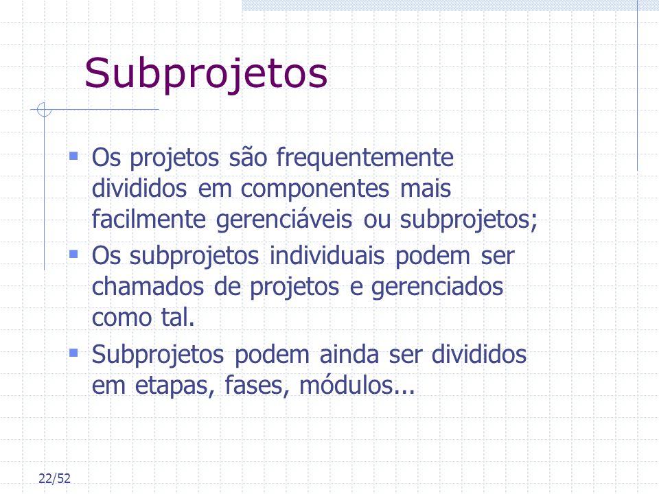 22/52 Subprojetos Os projetos são frequentemente divididos em componentes mais facilmente gerenciáveis ou subprojetos; Os subprojetos individuais pode