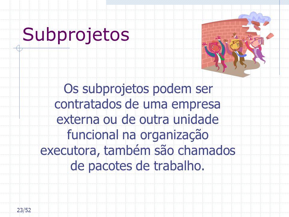 23/52 Subprojetos Os subprojetos podem ser contratados de uma empresa externa ou de outra unidade funcional na organização executora, também são chama