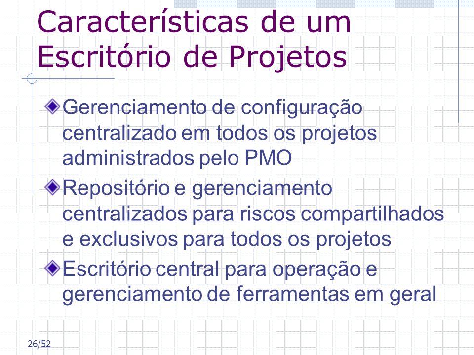 26/52 Características de um Escritório de Projetos Gerenciamento de configuração centralizado em todos os projetos administrados pelo PMO Repositório