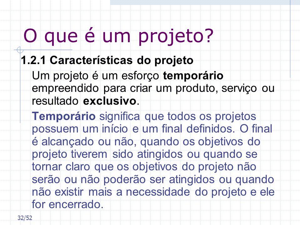 32/52 O que é um projeto? 1.2.1 Características do projeto Um projeto é um esforço temporário empreendido para criar um produto, serviço ou resultado