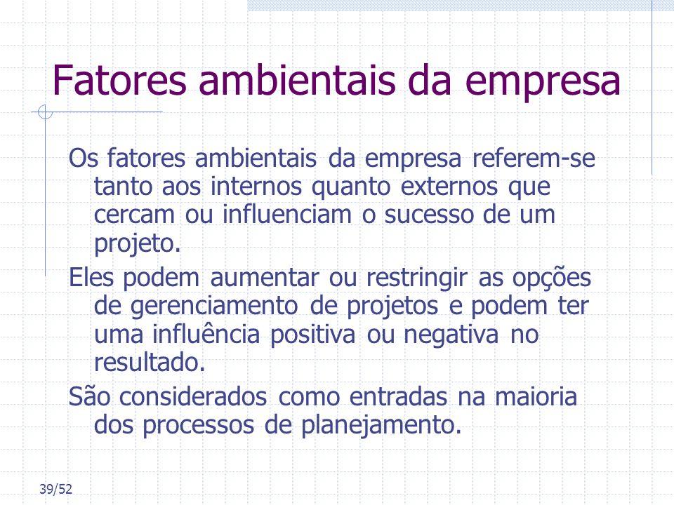 39/52 Fatores ambientais da empresa Os fatores ambientais da empresa referem-se tanto aos internos quanto externos que cercam ou influenciam o sucesso