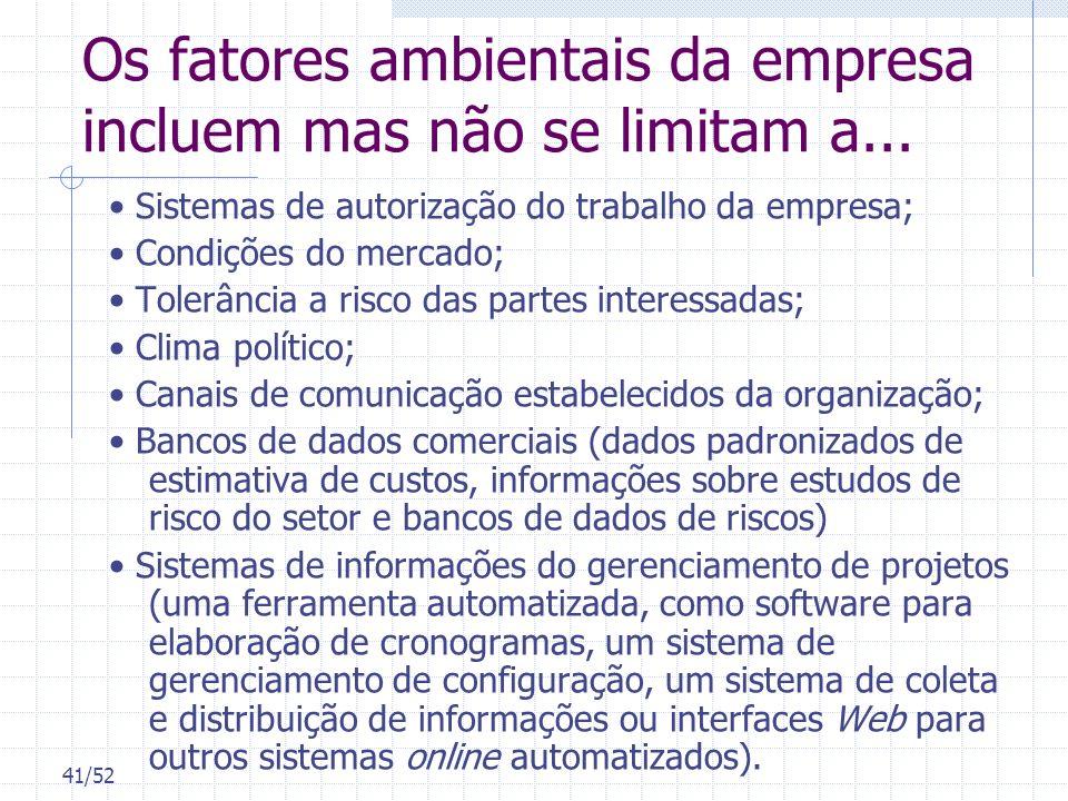 41/52 Os fatores ambientais da empresa incluem mas não se limitam a... Sistemas de autorização do trabalho da empresa; Condições do mercado; Tolerânci