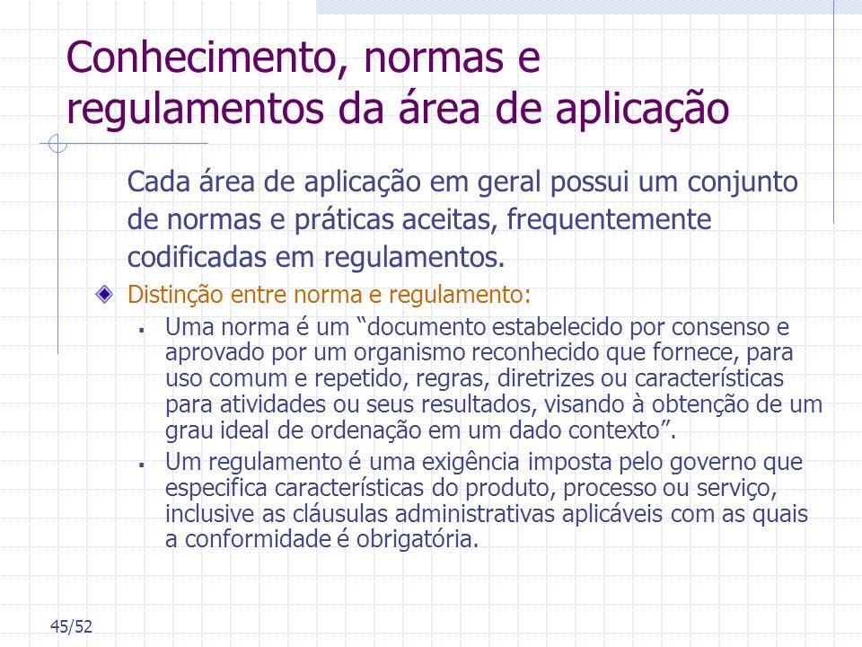 45/52 Conhecimento, normas e regulamentos da área de aplicação Cada área de aplicação em geral possui um conjunto de normas e práticas aceitas, freque