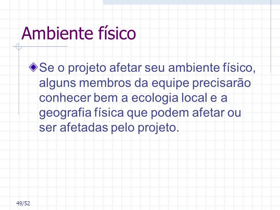 49/52 Ambiente físico Se o projeto afetar seu ambiente físico, alguns membros da equipe precisarão conhecer bem a ecologia local e a geografia física