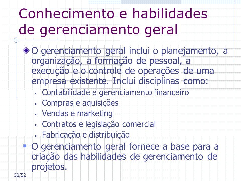 50/52 Conhecimento e habilidades de gerenciamento geral O gerenciamento geral inclui o planejamento, a organização, a formação de pessoal, a execução