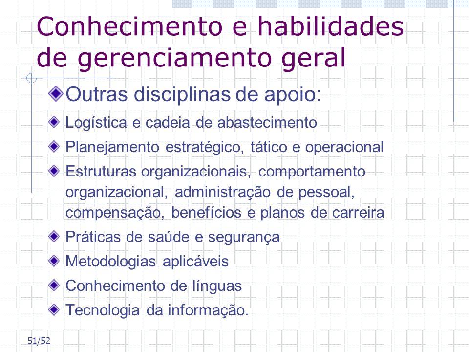 51/52 Conhecimento e habilidades de gerenciamento geral Outras disciplinas de apoio: Logística e cadeia de abastecimento Planejamento estratégico, tát