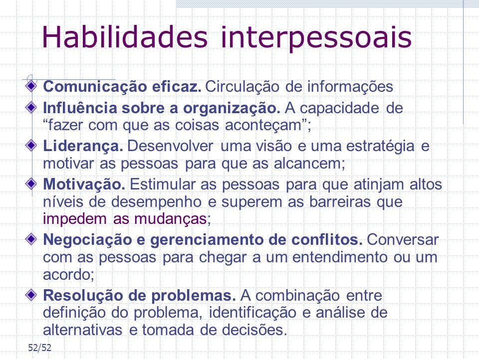 52/52 Habilidades interpessoais Comunicação eficaz. Circulação de informações Influência sobre a organização. A capacidade de fazer com que as coisas
