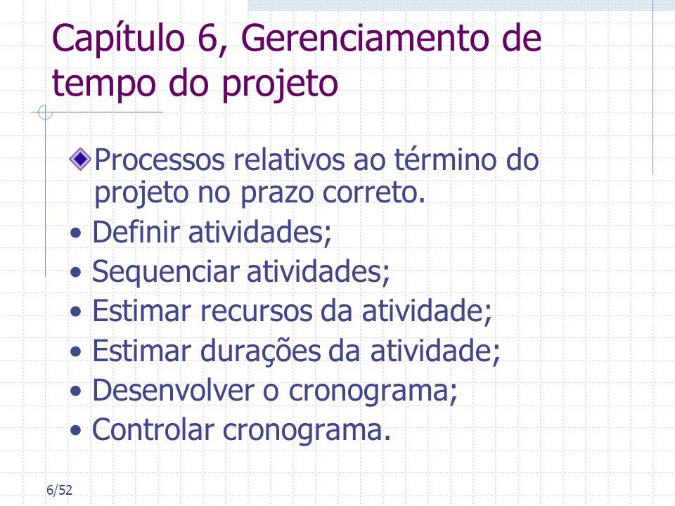6/52 Capítulo 6, Gerenciamento de tempo do projeto Processos relativos ao término do projeto no prazo correto. Definir atividades; Sequenciar atividad