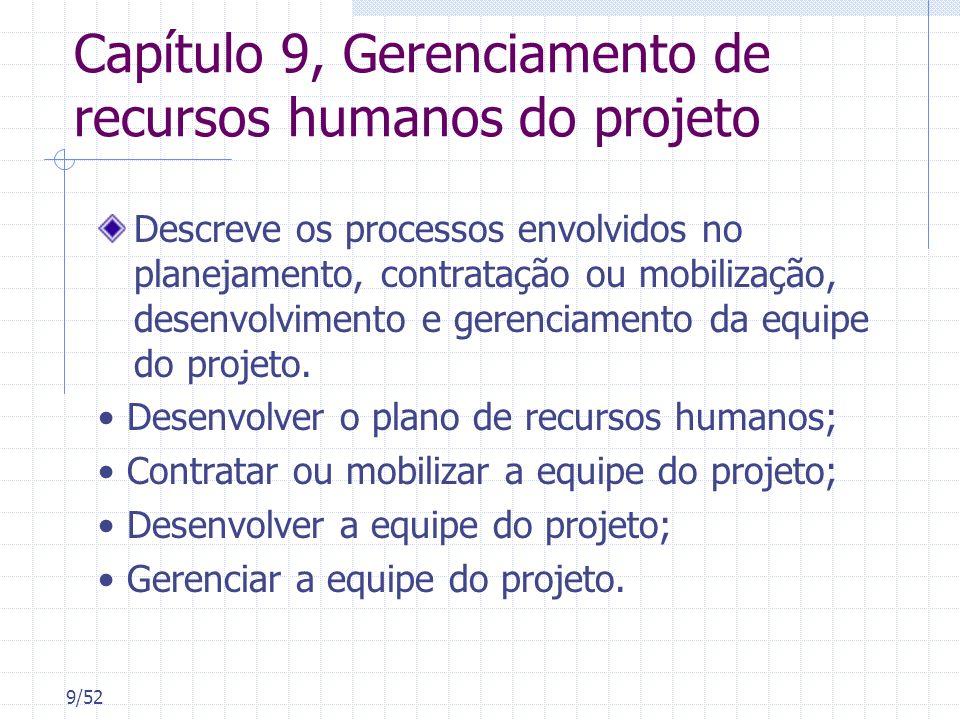 9/52 Capítulo 9, Gerenciamento de recursos humanos do projeto Descreve os processos envolvidos no planejamento, contratação ou mobilização, desenvolvi