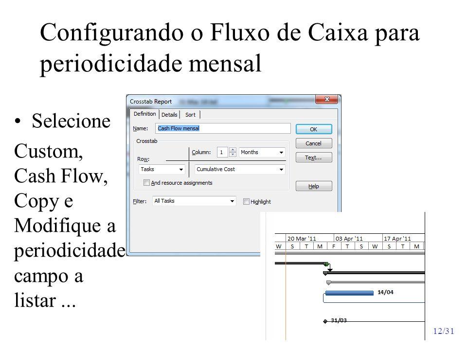 Configurando o Fluxo de Caixa para periodicidade mensal Selecione Custom, Cash Flow, Copy e Modifique a periodicidade campo a listar... 12/31