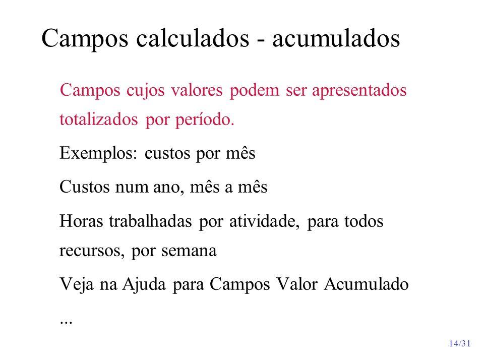 14/31 Campos calculados - acumulados Campos cujos valores podem ser apresentados totalizados por período. Exemplos: custos por mês Custos num ano, mês