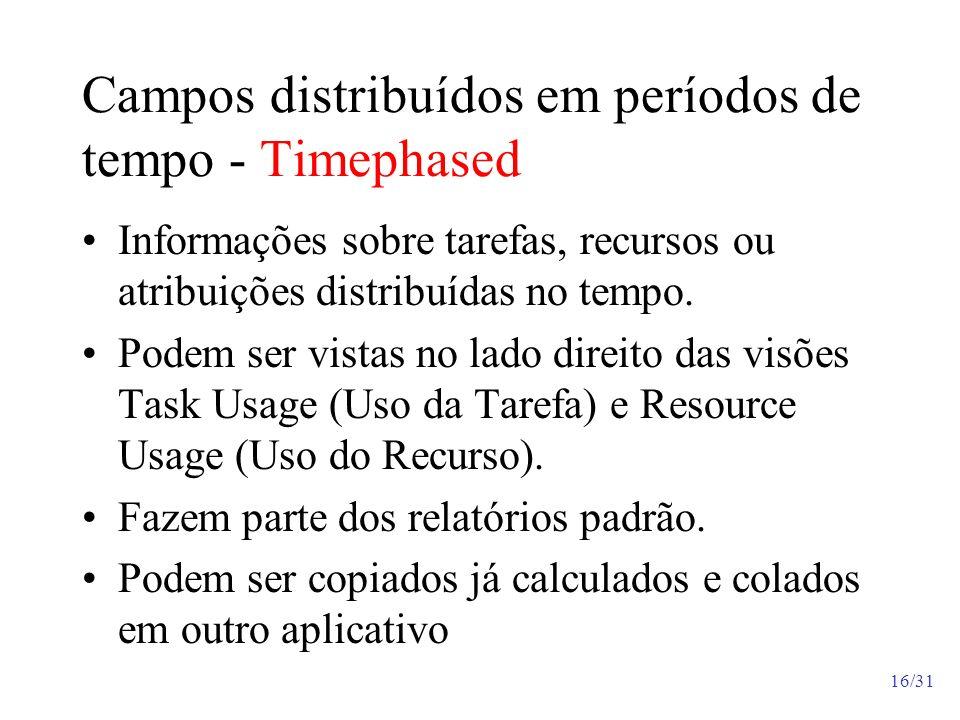 Campos distribuídos em períodos de tempo - Timephased Informações sobre tarefas, recursos ou atribuições distribuídas no tempo. Podem ser vistas no la