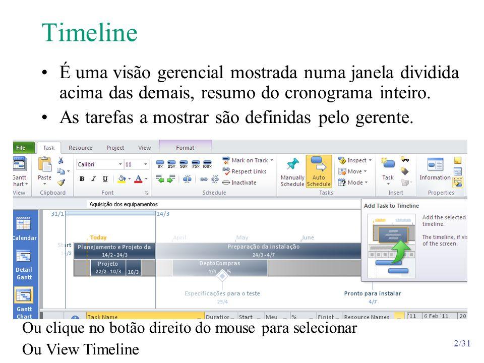 2/31 Timeline É uma visão gerencial mostrada numa janela dividida acima das demais, resumo do cronograma inteiro. As tarefas a mostrar são definidas p